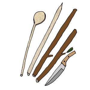 Tools for bushcraft - knives, sticks, spoon