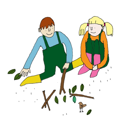girl and boy playing with sticks
