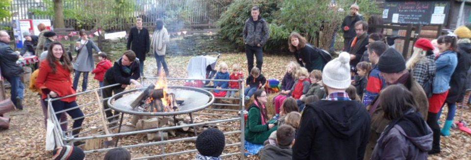 winter fair celebrations and bonfire