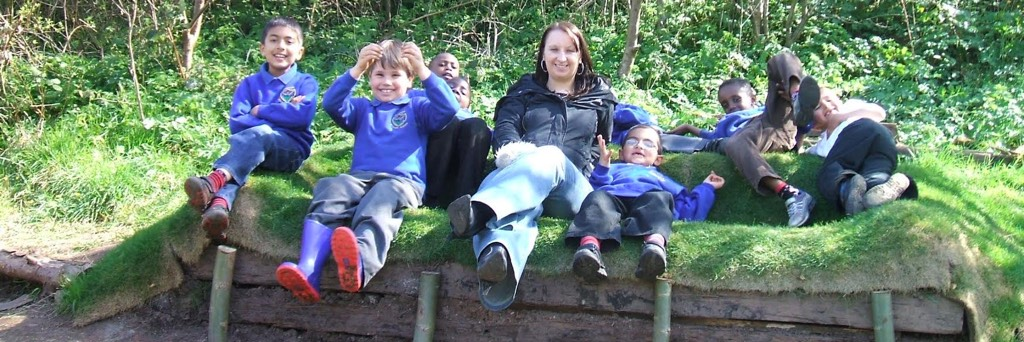 school children at the farm