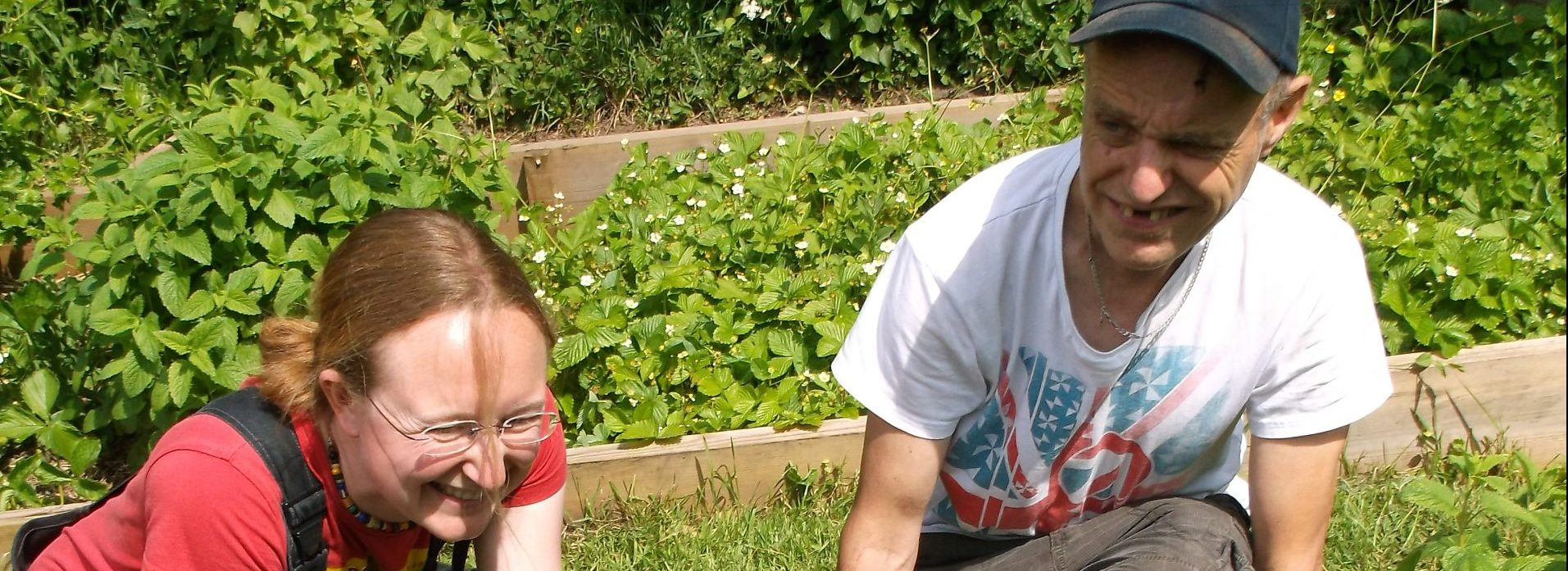 Volunteers with learning disabilities gardening at St Werburghs City Farm