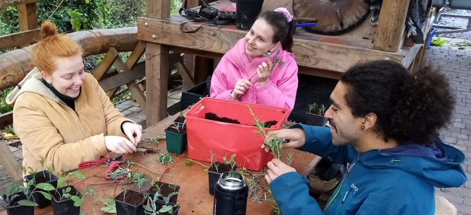Young people talking around table and doing crafts at Boiling Wells